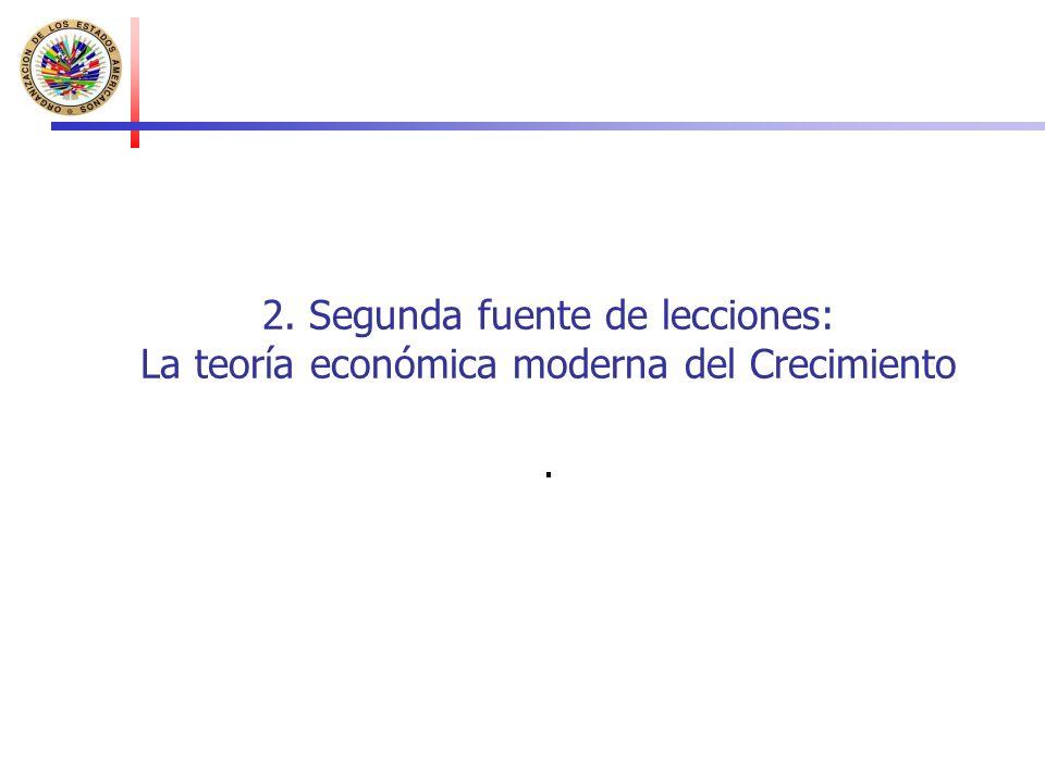 2. Segunda fuente de lecciones: La teoría económica moderna del Crecimiento.