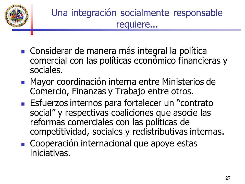 27 Una integración socialmente responsable requiere...