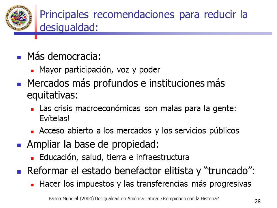 28 Principales recomendaciones para reducir la desigualdad: Más democracia: Mayor participación, voz y poder Mercados más profundos e instituciones más equitativas: Las crisis macroeconómicas son malas para la gente: Evítelas.