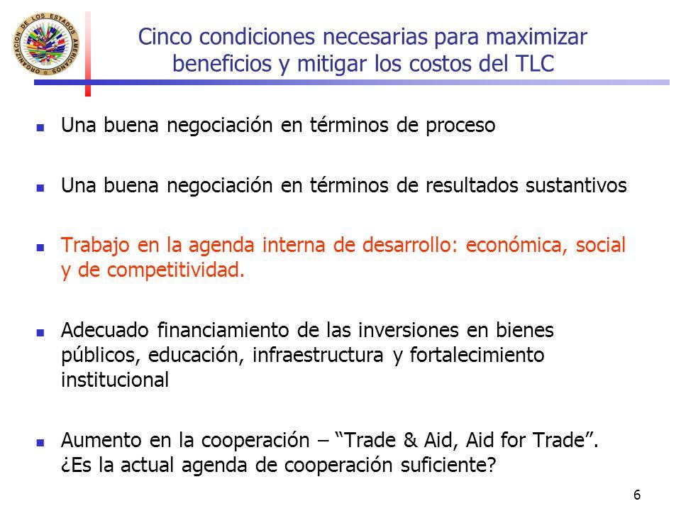6 Cinco condiciones necesarias para maximizar beneficios y mitigar los costos del TLC Una buena negociación en términos de proceso Una buena negociación en términos de resultados sustantivos Trabajo en la agenda interna de desarrollo: económica, social y de competitividad.