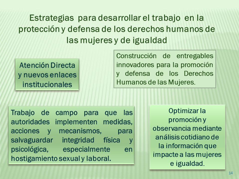 Construcción de entregables innovadores para la promoción y defensa de los Derechos Humanos de las Mujeres. Optimizar la promoción y observancia media
