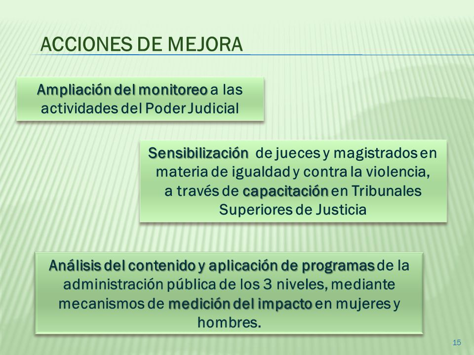 Ampliación del monitoreo Ampliación del monitoreo a las actividades del Poder Judicial Sensibilización Sensibilización de jueces y magistrados en mate