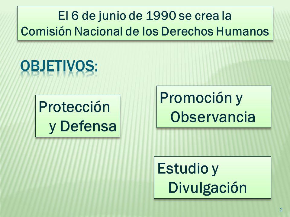 2 Promoción y Observancia Estudio y Divulgación Protección y Defensa El 6 de junio de 1990 se crea la Comisión Nacional de los Derechos Humanos