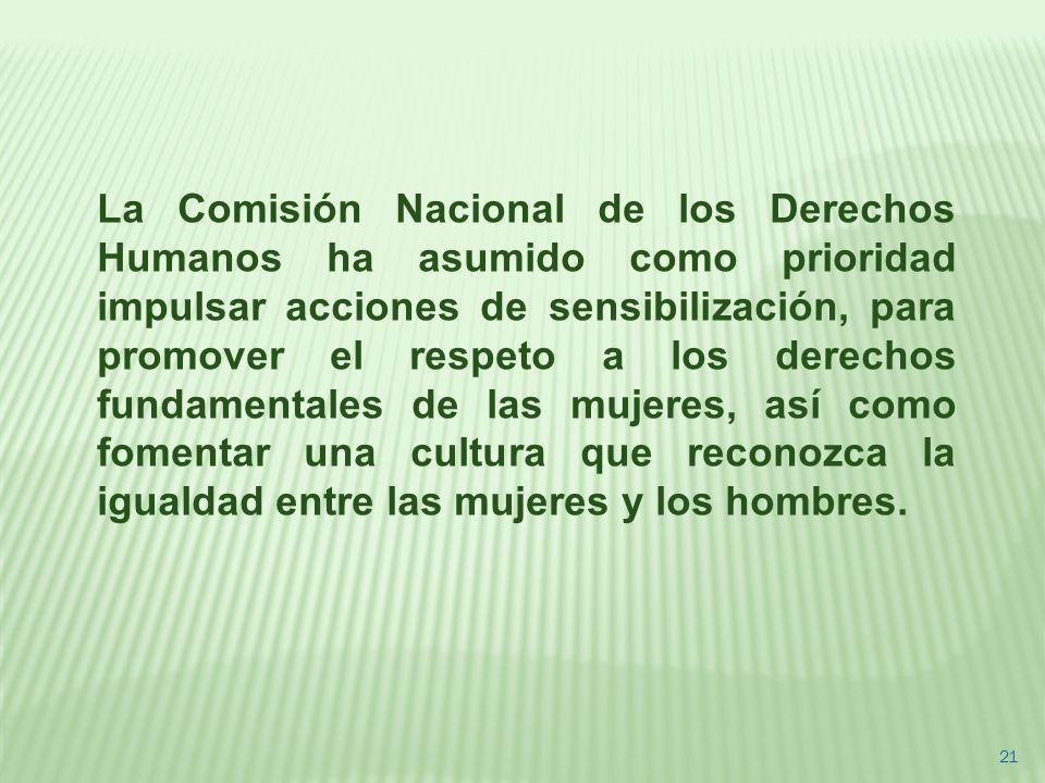 21 La Comisión Nacional de los Derechos Humanos ha asumido como prioridad impulsar acciones de sensibilización, para promover el respeto a los derecho