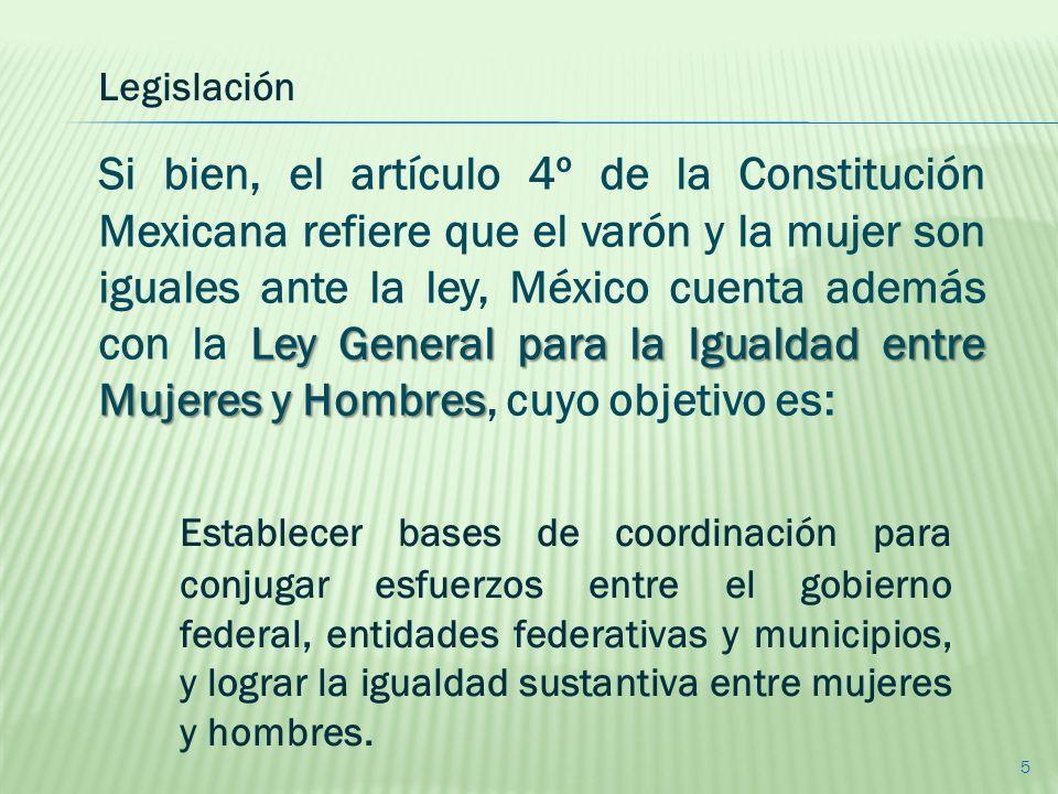 Establecer bases de coordinación para conjugar esfuerzos entre el gobierno federal, entidades federativas y municipios, y lograr la igualdad sustantiv
