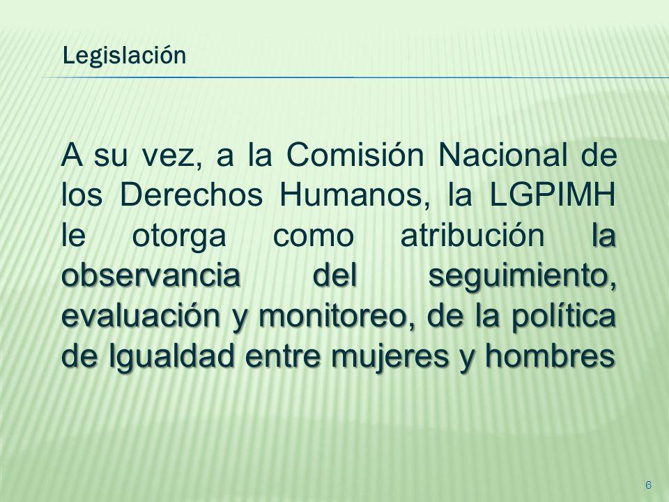 la observancia del seguimiento, evaluación y monitoreo, de la política de Igualdad entre mujeres y hombres A su vez, a la Comisión Nacional de los Der