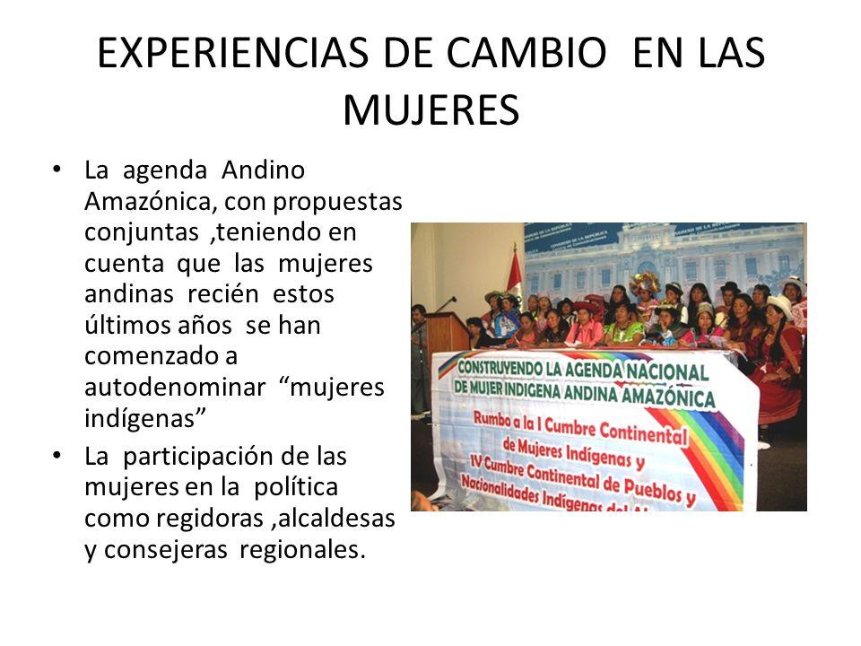 EXPERIENCIAS DE CAMBIO EN LAS MUJERES La agenda Andino Amazónica, con propuestas conjuntas,teniendo en cuenta que las mujeres andinas recién estos últ