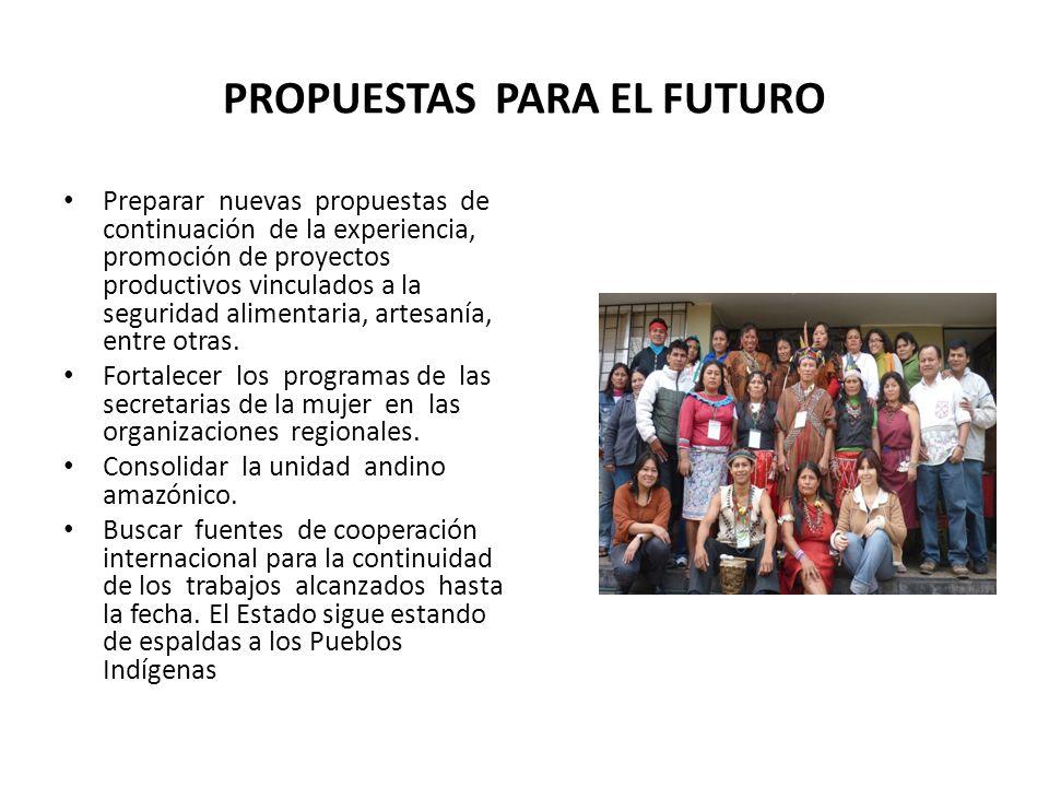 PROPUESTAS PARA EL FUTURO Preparar nuevas propuestas de continuación de la experiencia, promoción de proyectos productivos vinculados a la seguridad alimentaria, artesanía, entre otras.