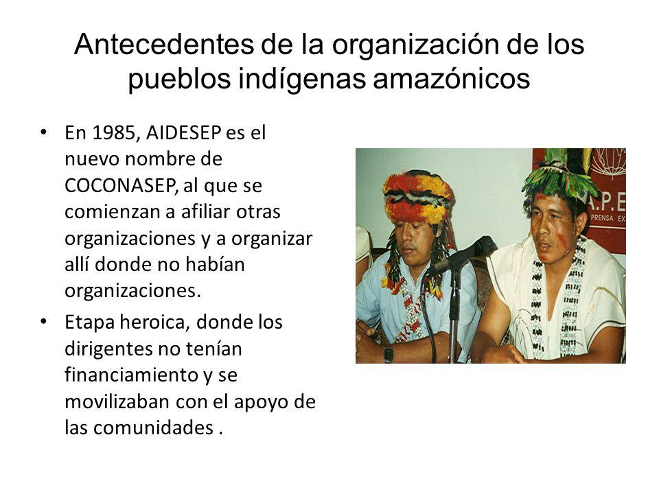 Antecedentes de la organización de los pueblos indígenas amazónicos Segunda mitad de la década de los 90 (1996 – 2003) significó la consolidación de AIDESEP como la autentica representante de los pueblos indígenas de la Amazonía peruana.