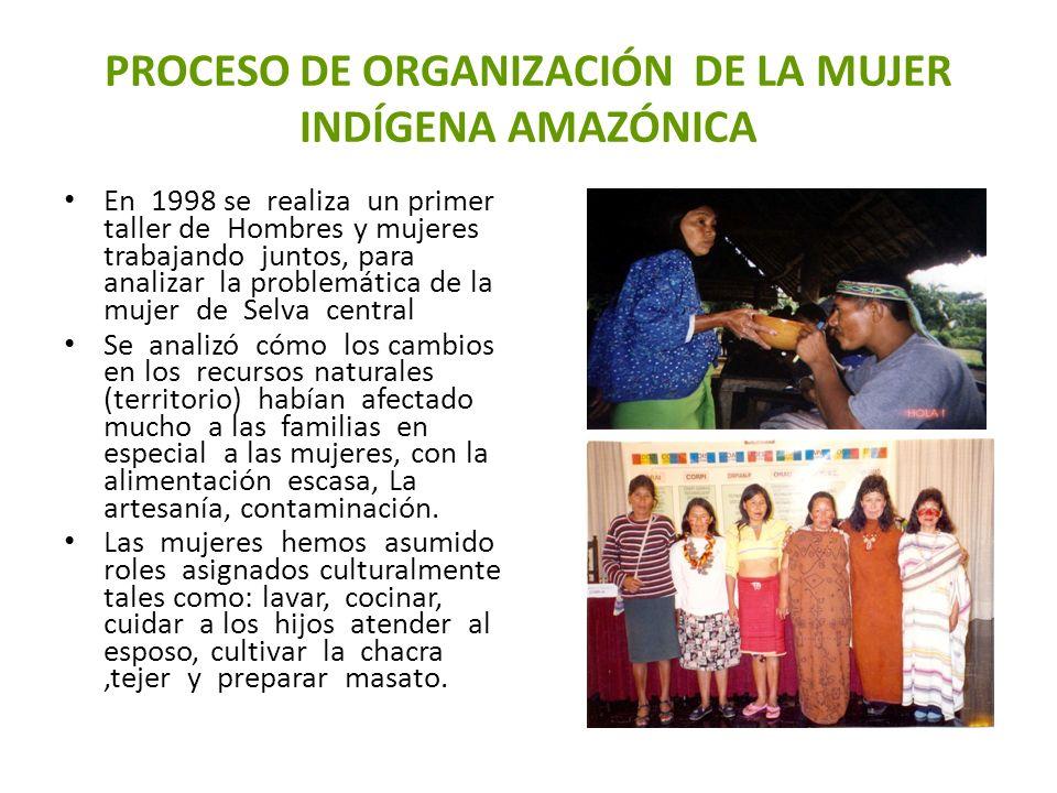 PROCESO DE ORGANIZACIÓN DE LA MUJER INDÍGENA AMAZÓNICA En 1998 se realiza un primer taller de Hombres y mujeres trabajando juntos, para analizar la pr