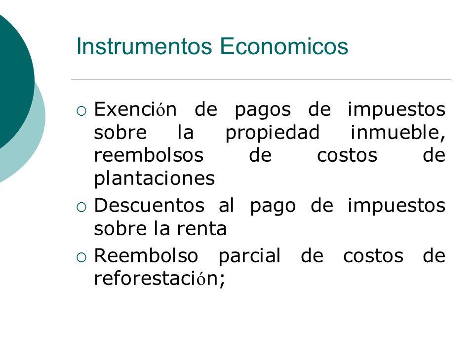 Exenci ó n de pagos de impuestos sobre la propiedad inmueble, reembolsos de costos de plantaciones Descuentos al pago de impuestos sobre la renta Reem