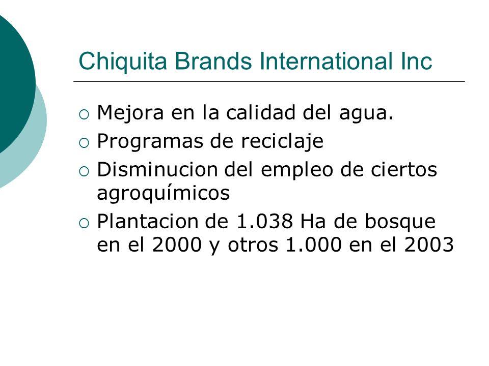 Chiquita Brands International Inc Mejora en la calidad del agua. Programas de reciclaje Disminucion del empleo de ciertos agroquímicos Plantacion de 1