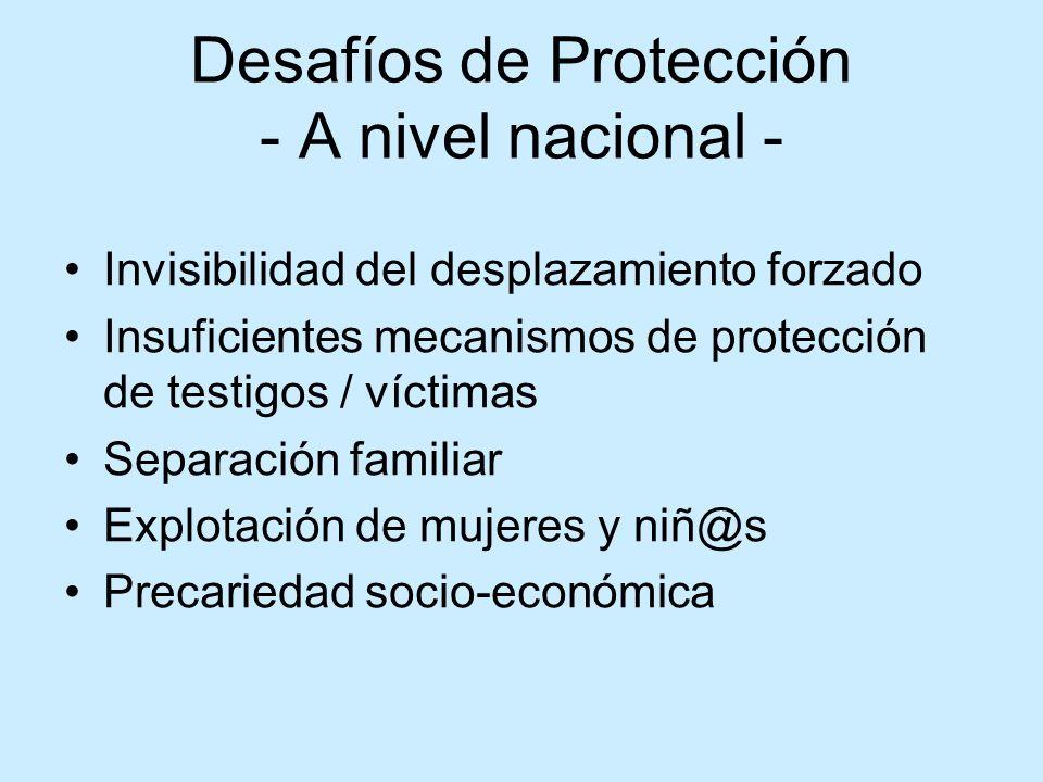 Desafíos de Protección - A nivel nacional - Invisibilidad del desplazamiento forzado Insuficientes mecanismos de protección de testigos / víctimas Sep
