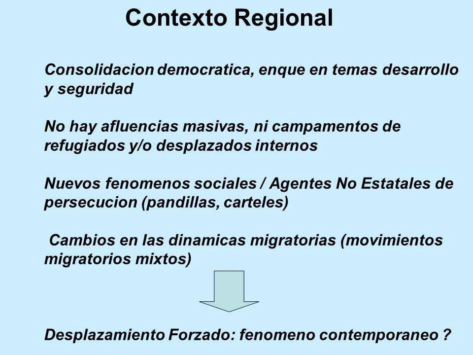 Refugiados y Solicitantes de la Condición de Refugiado de origen centroamericano (Diciembre, 2011) País de Origen Refugiados Solicitudes de la condición de Refugiado (*) - Casos Pendientes - Guatemala6,0881.107 El Salvador 6,7201.636 Honduras1.966847 Nicaragua1.468137 Totales16,2423,720 Fuente: ACNUR, Global Trends Report, 2011.