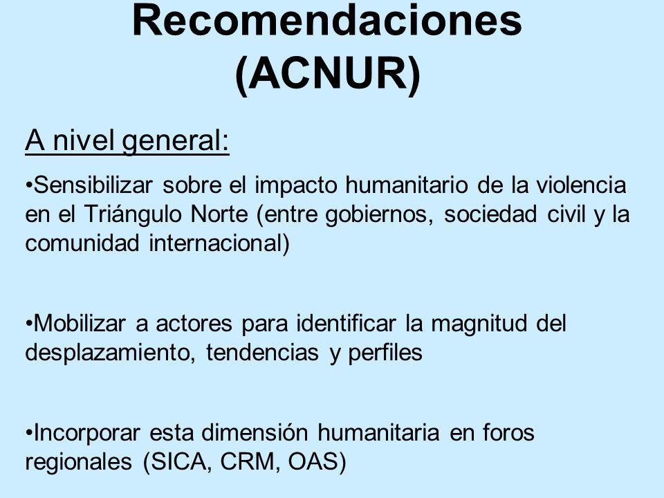 A nivel general: Sensibilizar sobre el impacto humanitario de la violencia en el Triángulo Norte (entre gobiernos, sociedad civil y la comunidad inter