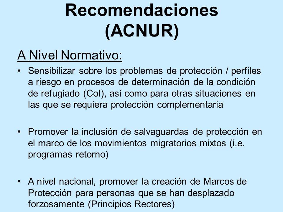 A Nivel Normativo: Sensibilizar sobre los problemas de protección / perfiles a riesgo en procesos de determinación de la condición de refugiado (CoI),