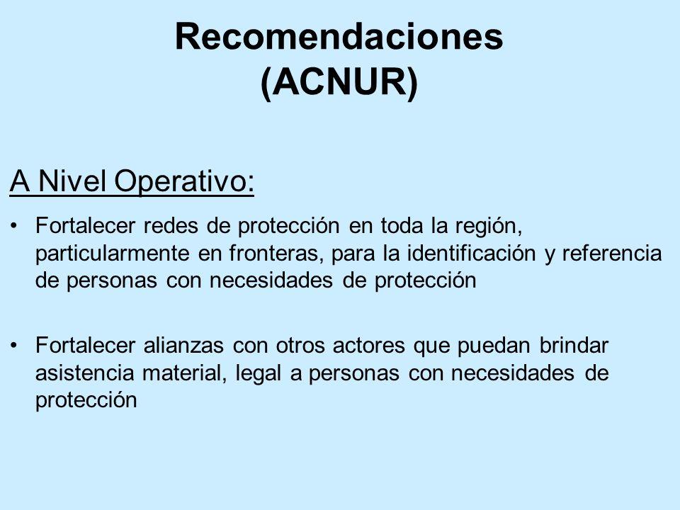 A Nivel Operativo: Fortalecer redes de protección en toda la región, particularmente en fronteras, para la identificación y referencia de personas con