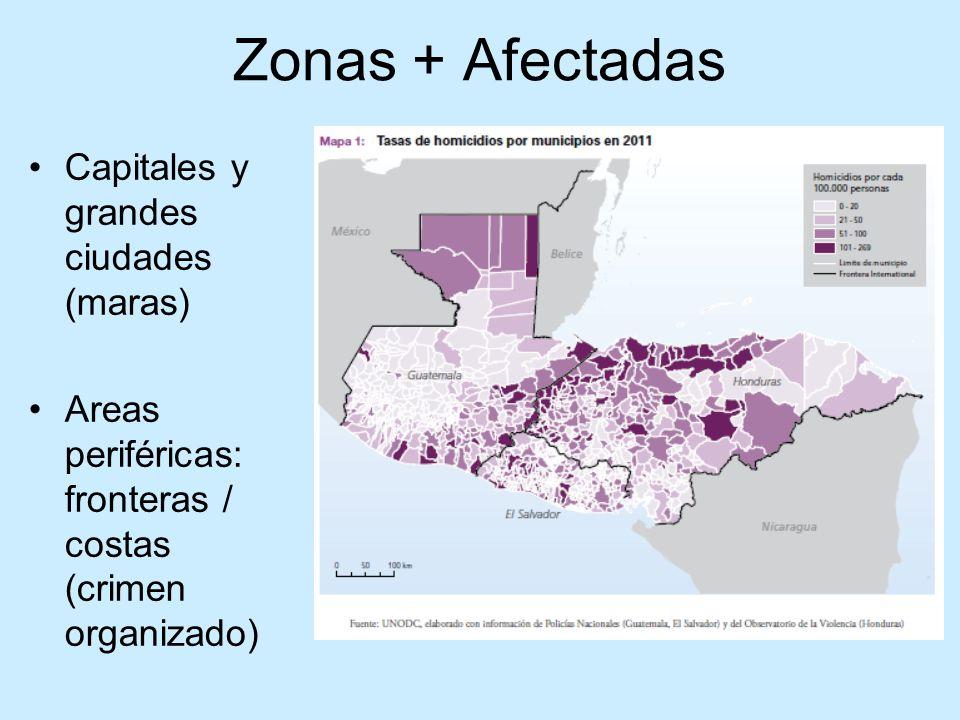 Zonas + Afectadas Capitales y grandes ciudades (maras) Areas periféricas: fronteras / costas (crimen organizado)