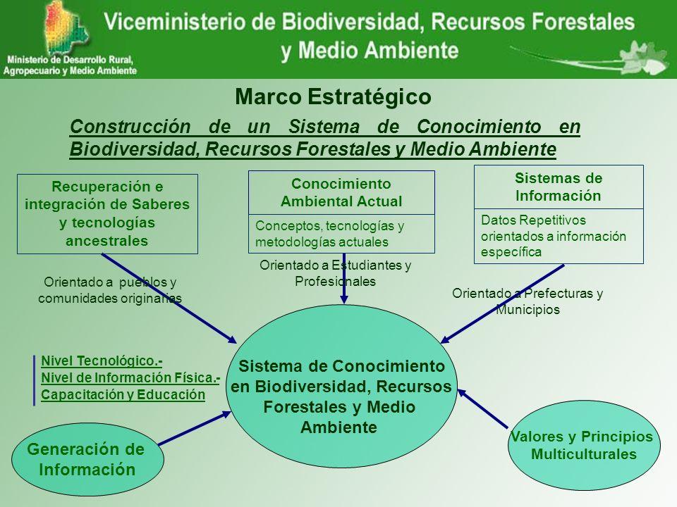 Marco Estratégico Construcción de un Sistema de Conocimiento en Biodiversidad, Recursos Forestales y Medio Ambiente Sistema de Conocimiento en Biodive
