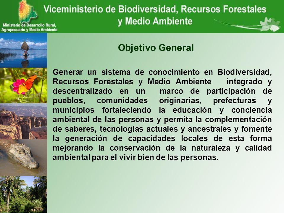 Objetivo General Generar un sistema de conocimiento en Biodiversidad, Recursos Forestales y Medio Ambiente integrado y descentralizado en un marco de