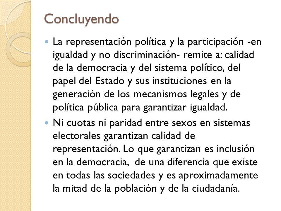 Concluyendo La representación política y la participación -en igualdad y no discriminación- remite a: calidad de la democracia y del sistema político,
