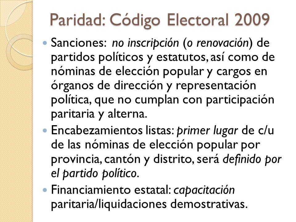 Paridad: Código Electoral 2009 Sanciones: no inscripción (o renovación) de partidos políticos y estatutos, así como de nóminas de elección popular y c