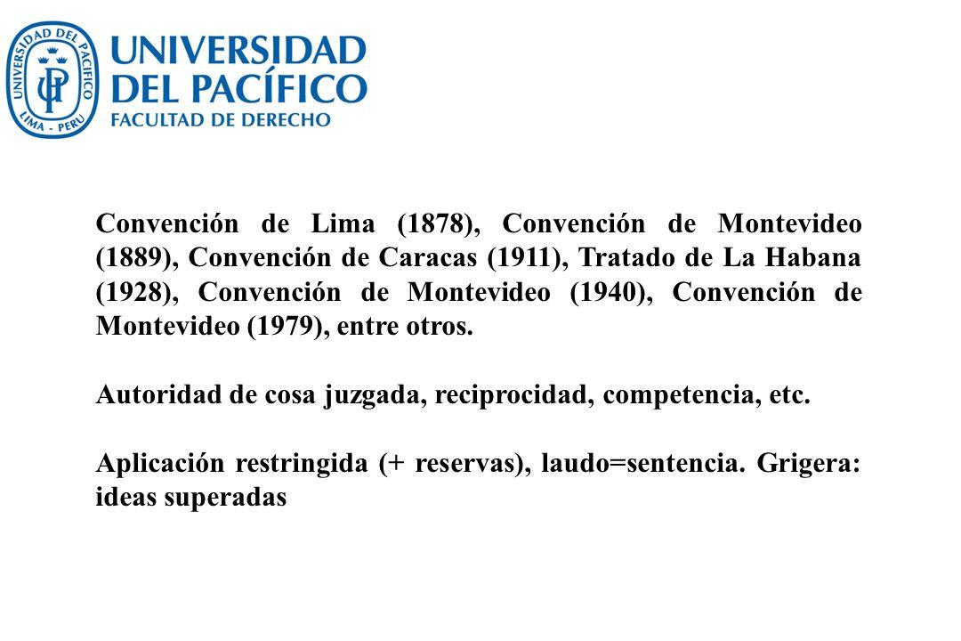 Convención de Lima (1878), Convención de Montevideo (1889), Convención de Caracas (1911), Tratado de La Habana (1928), Convención de Montevideo (1940)