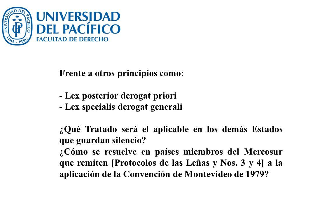 Frente a otros principios como: - Lex posterior derogat priori - Lex specialis derogat generali ¿Qué Tratado será el aplicable en los demás Estados qu