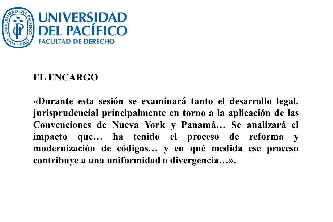 EL ENCARGO «Durante esta sesión se examinará tanto el desarrollo legal, jurisprudencial principalmente en torno a la aplicación de las Convenciones de
