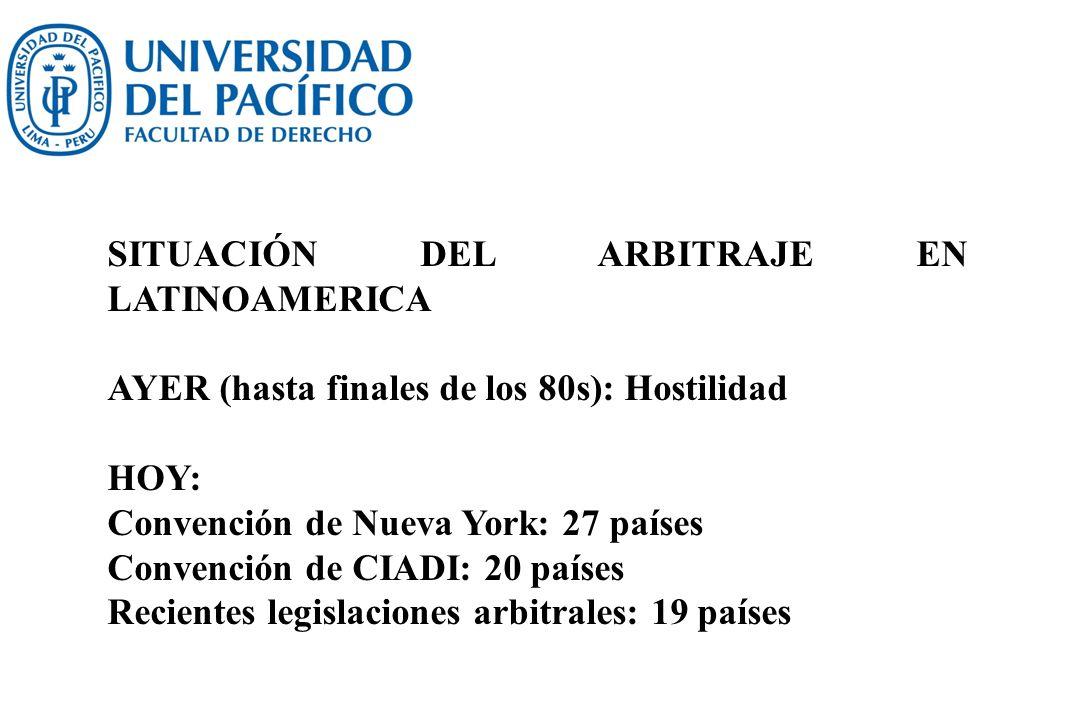 Nuevas legislaciones arbitrales Bermuda (1993), Bolivia (1997), Brasil (1996), Colombia (1998/2012), Costa Rica (2011), Chile (2004), Cuba (2007), Ecuador (1997), El Salvador (2002), Guatemala (1995), Haití (2006), Honduras (2000), México (1993), Nicaragua (2005), Panamá (1999), Paraguay (2000), Perú (1996/2008), República Dominicana (2008) y Venezuela (1998)