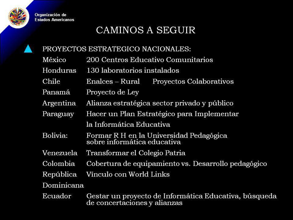 Organización de Estados Americanos CAMINOS A SEGUIR PROYECTOS ESTRATEGICO NACIONALES: México200 Centros Educativo Comunitarios Honduras130 laboratorios instalados ChileEnalces – Rural Proyectos Colaborativos PanamáProyecto de Ley ArgentinaAlianza estratégica sector privado y público ParaguayHacer un Plan Estratégico para Implementar la Informática Educativa Bolivia: Formar R H en la Universidad Pedagógica sobre informática educativa VenezuelaTransformar el Colegio Patria ColombiaCobertura de equipamiento vs.