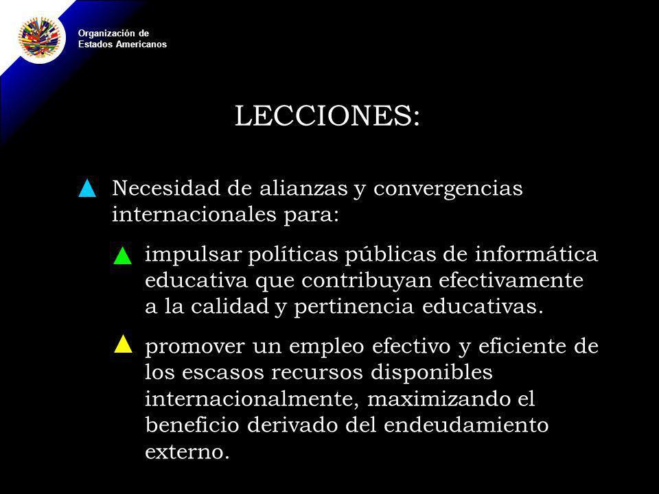 Organización de Estados Americanos LECCIONES: Necesidad de alianzas y convergencias internacionales para: impulsar políticas públicas de informática educativa que contribuyan efectivamente a la calidad y pertinencia educativas.