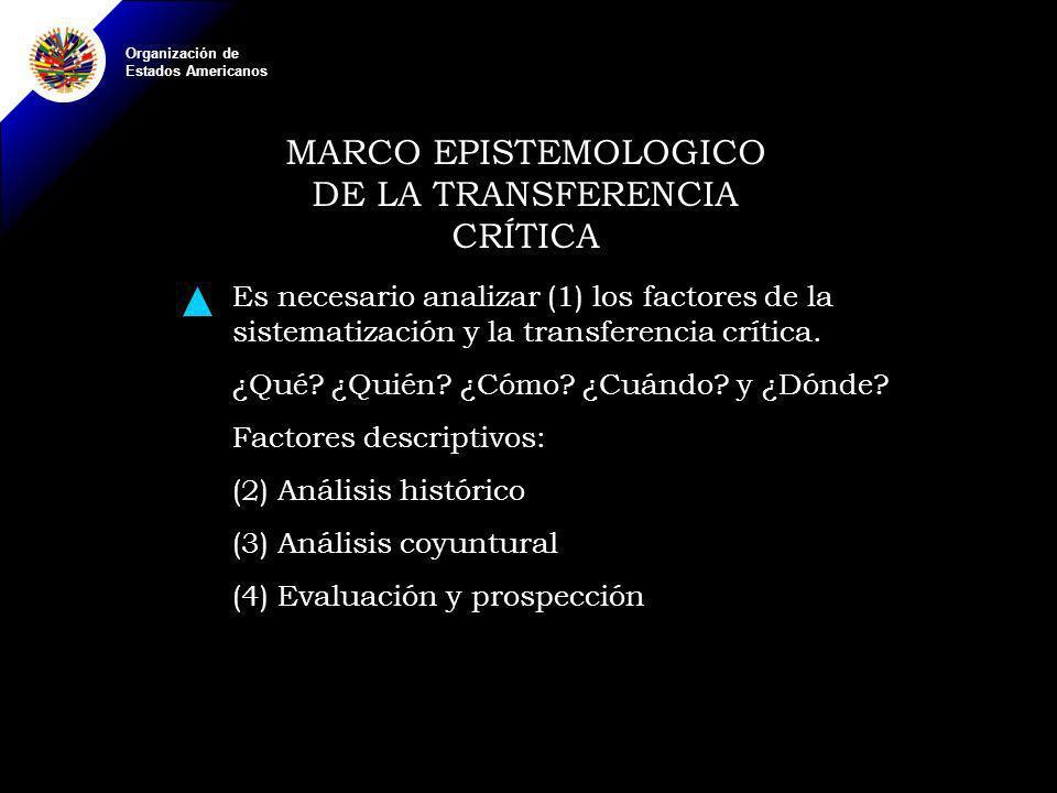 Organización de Estados Americanos MARCO EPISTEMOLOGICO DE LA TRANSFERENCIA CRÍTICA Es necesario analizar (1) los factores de la sistematización y la transferencia crítica.