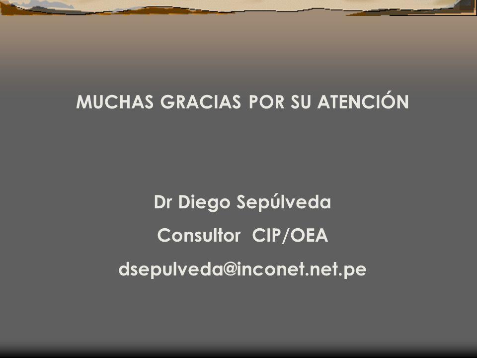 MUCHAS GRACIAS POR SU ATENCIÓN Dr Diego Sepúlveda Consultor CIP/OEA dsepulveda@inconet.net.pe