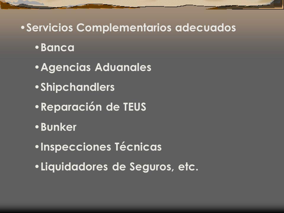 Servicios Complementarios adecuados Banca Agencias Aduanales Shipchandlers Reparación de TEUS Bunker Inspecciones Técnicas Liquidadores de Seguros, et