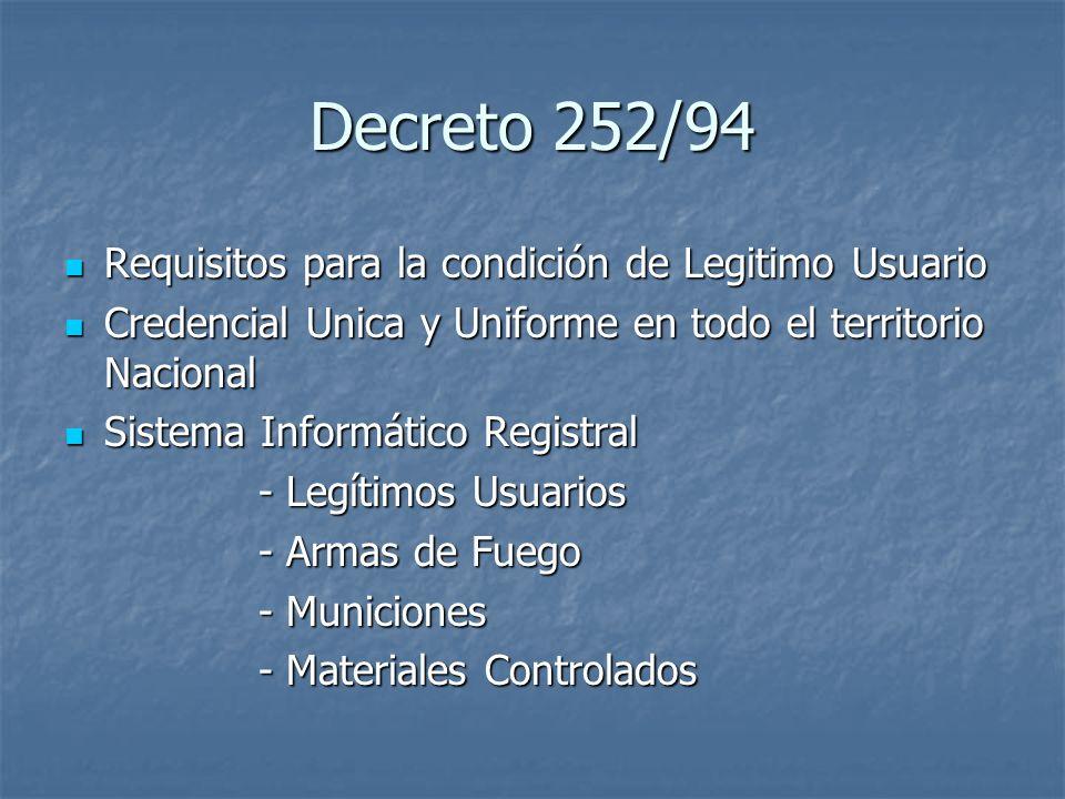 Decreto 252/94 Requisitos para la condición de Legitimo Usuario Requisitos para la condición de Legitimo Usuario Credencial Unica y Uniforme en todo e