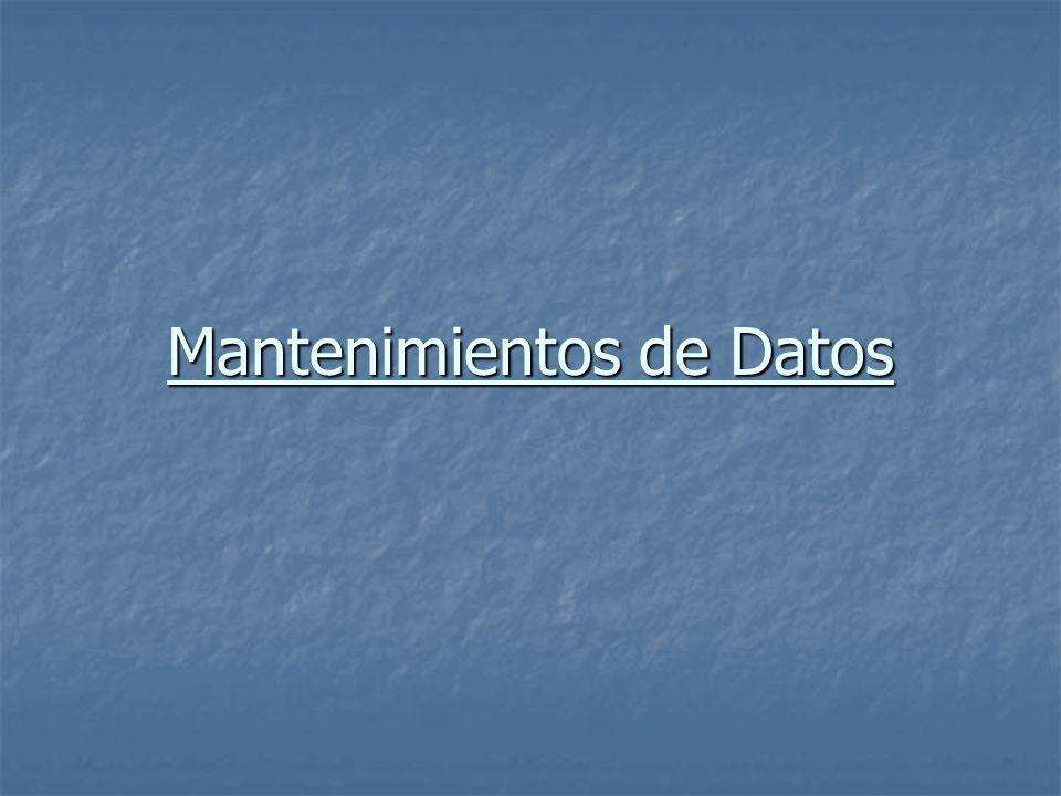 Mantenimientos de Datos