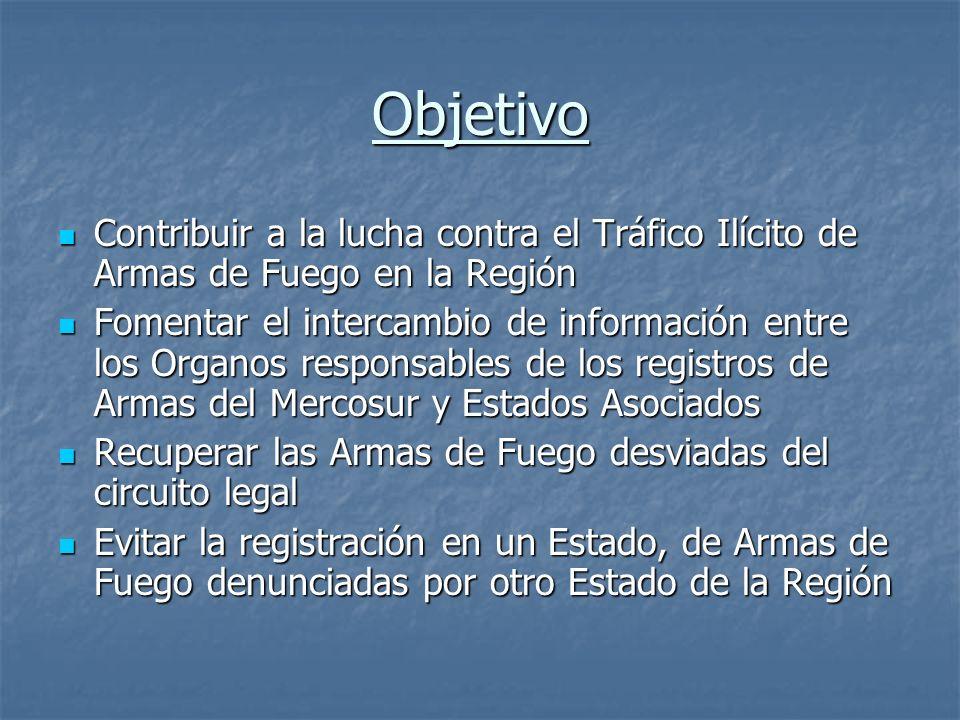 Objetivo Contribuir a la lucha contra el Tráfico Ilícito de Armas de Fuego en la Región Contribuir a la lucha contra el Tráfico Ilícito de Armas de Fu