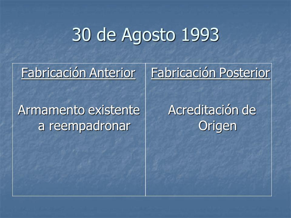 30 de Agosto 1993 Fabricación Anterior Fabricación Anterior Armamento existente a reempadronar Fabricación Posterior Acreditación de Origen