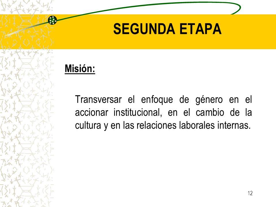 12 Misión: Transversar el enfoque de género en el accionar institucional, en el cambio de la cultura y en las relaciones laborales internas. SEGUNDA E