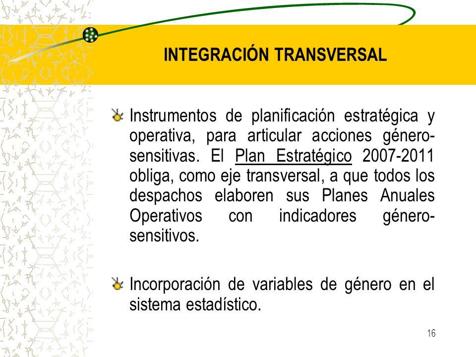 16 Instrumentos de planificación estratégica y operativa, para articular acciones género- sensitivas. El Plan Estratégico 2007-2011 obliga, como eje t