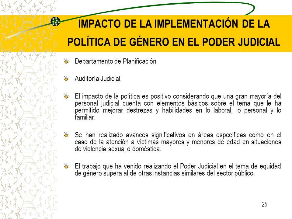 25 IMPACTO DE LA IMPLEMENTACIÓN DE LA POLÍTICA DE GÉNERO EN EL PODER JUDICIAL Departamento de Planificación Auditoría Judicial. El impacto de la polít