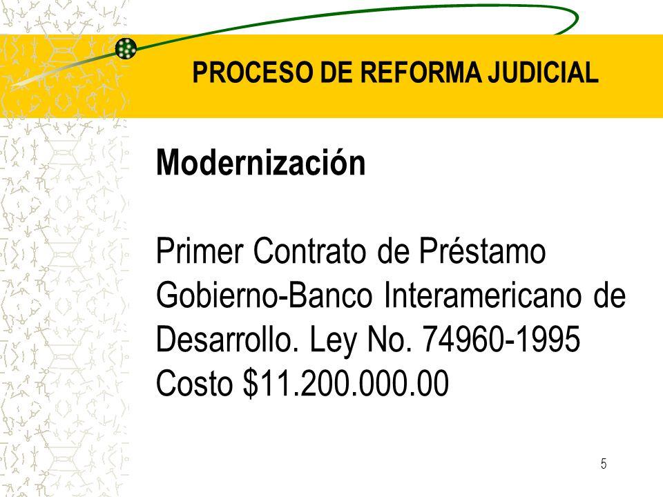 5 Modernización Primer Contrato de Préstamo Gobierno-Banco Interamericano de Desarrollo. Ley No. 74960-1995 Costo $11.200.000.00 PROCESO DE REFORMA JU