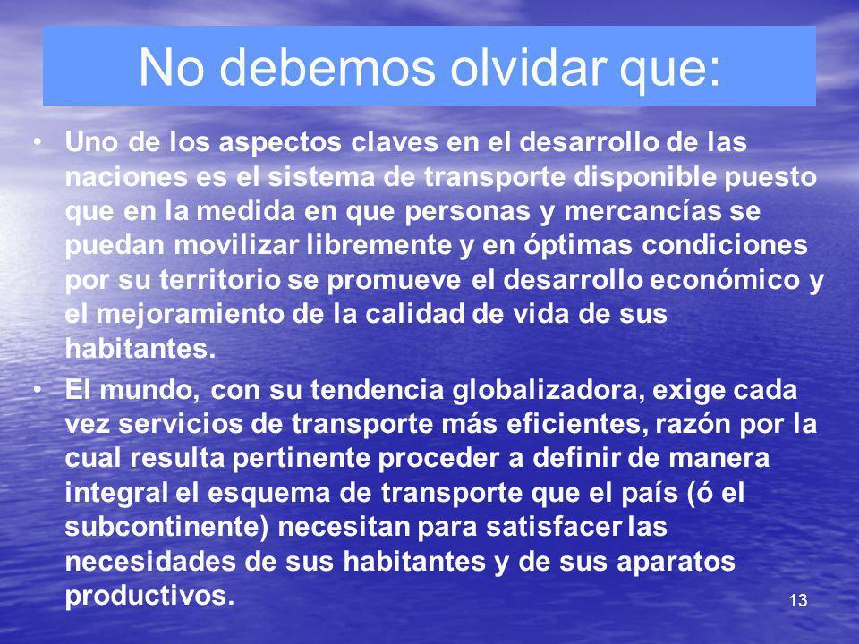 13 No debemos olvidar que: Uno de los aspectos claves en el desarrollo de las naciones es el sistema de transporte disponible puesto que en la medida