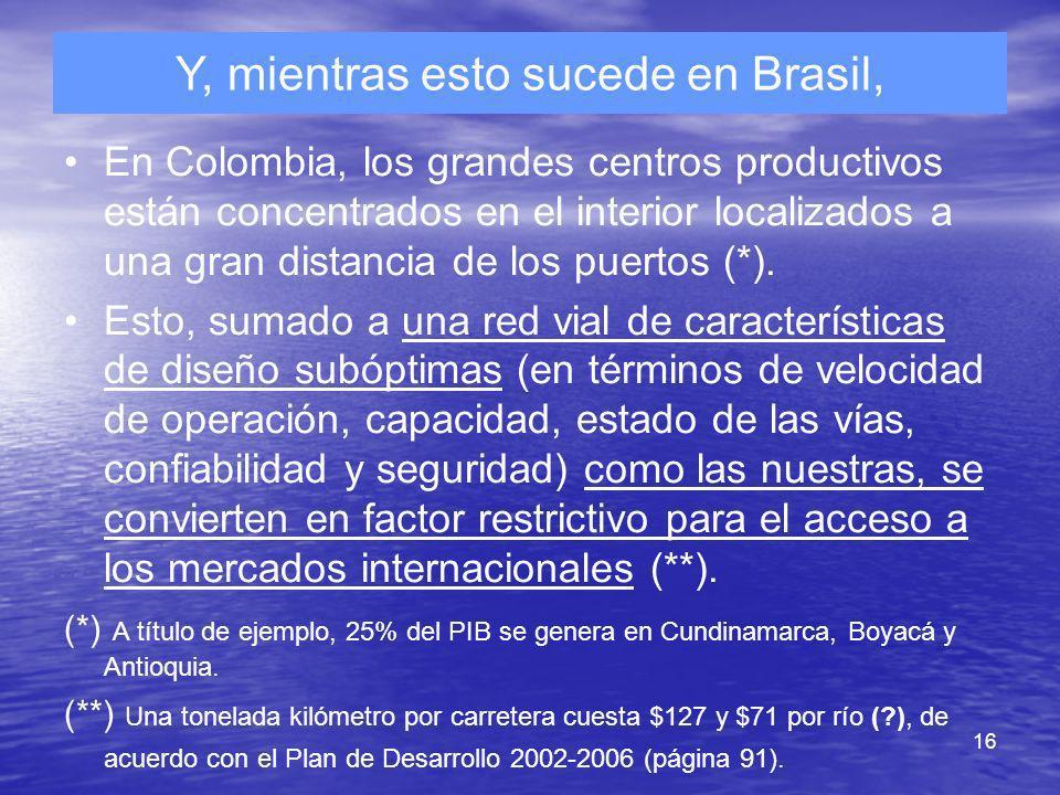 16 Y, mientras esto sucede en Brasil, En Colombia, los grandes centros productivos están concentrados en el interior localizados a una gran distancia