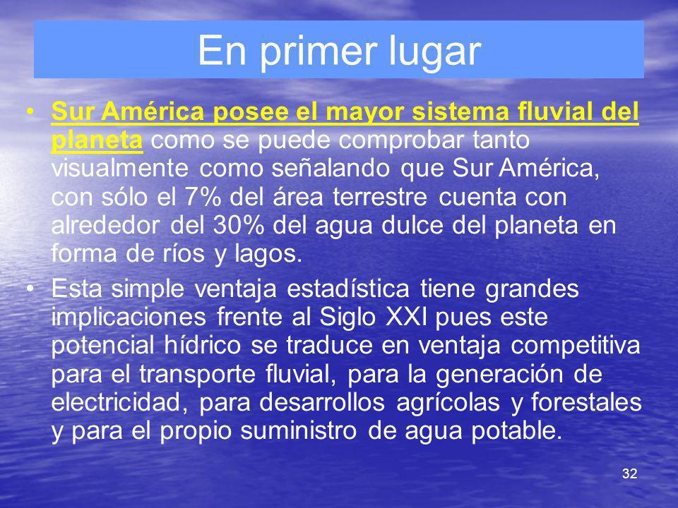 32 En primer lugar Sur América posee el mayor sistema fluvial del planeta como se puede comprobar tanto visualmente como señalando que Sur América, co
