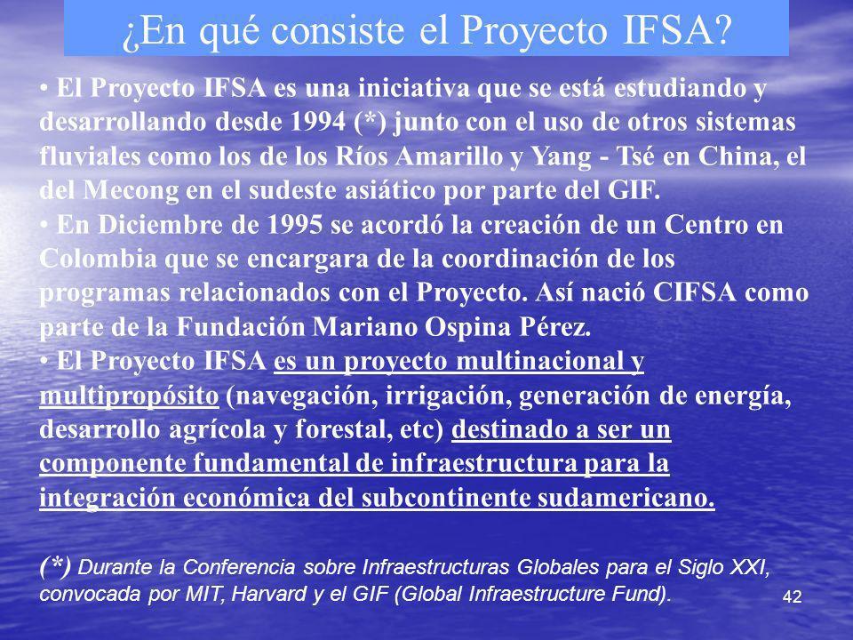 42 ¿En qué consiste el Proyecto IFSA? El Proyecto IFSA es una iniciativa que se está estudiando y desarrollando desde 1994 (*) junto con el uso de otr