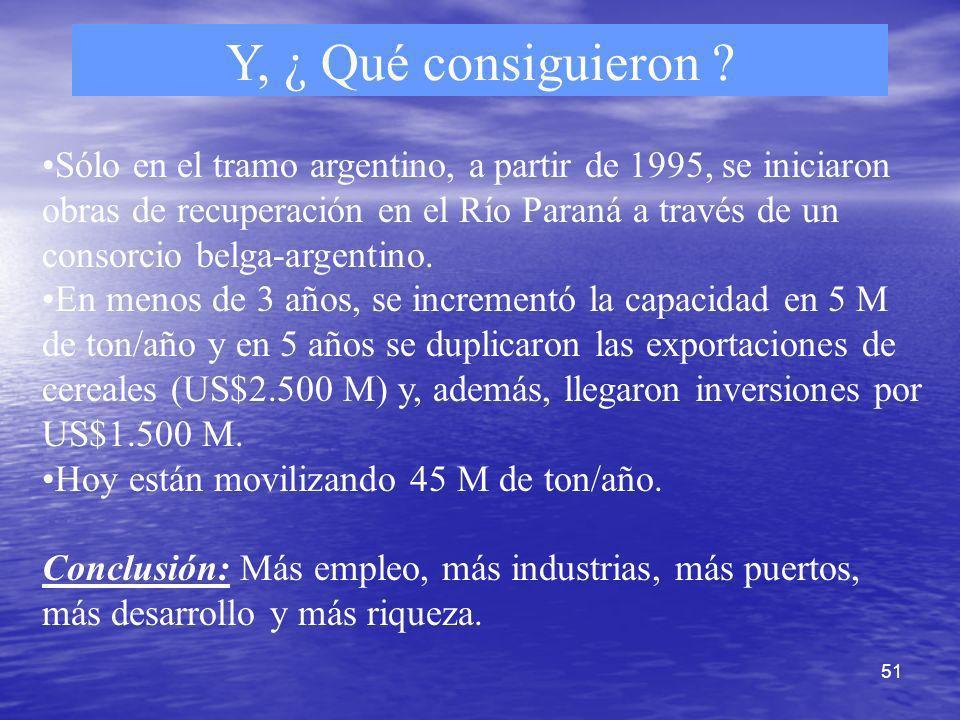 51 Y, ¿ Qué consiguieron ? Sólo en el tramo argentino, a partir de 1995, se iniciaron obras de recuperación en el Río Paraná a través de un consorcio