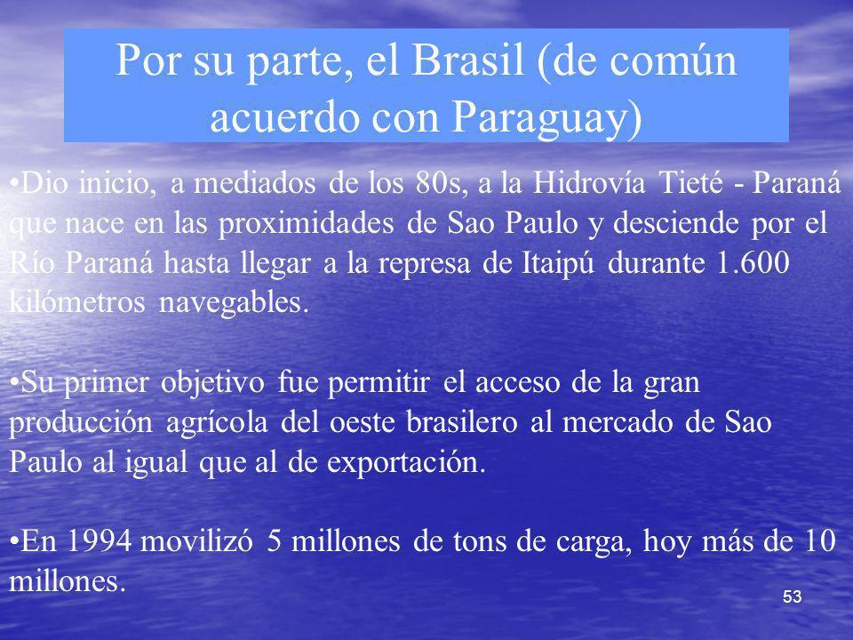 53 Por su parte, el Brasil (de común acuerdo con Paraguay) Dio inicio, a mediados de los 80s, a la Hidrovía Tieté - Paraná que nace en las proximidade