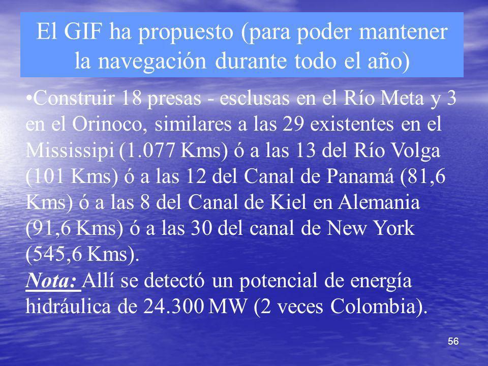56 El GIF ha propuesto (para poder mantener la navegación durante todo el año) Construir 18 presas - esclusas en el Río Meta y 3 en el Orinoco, simila
